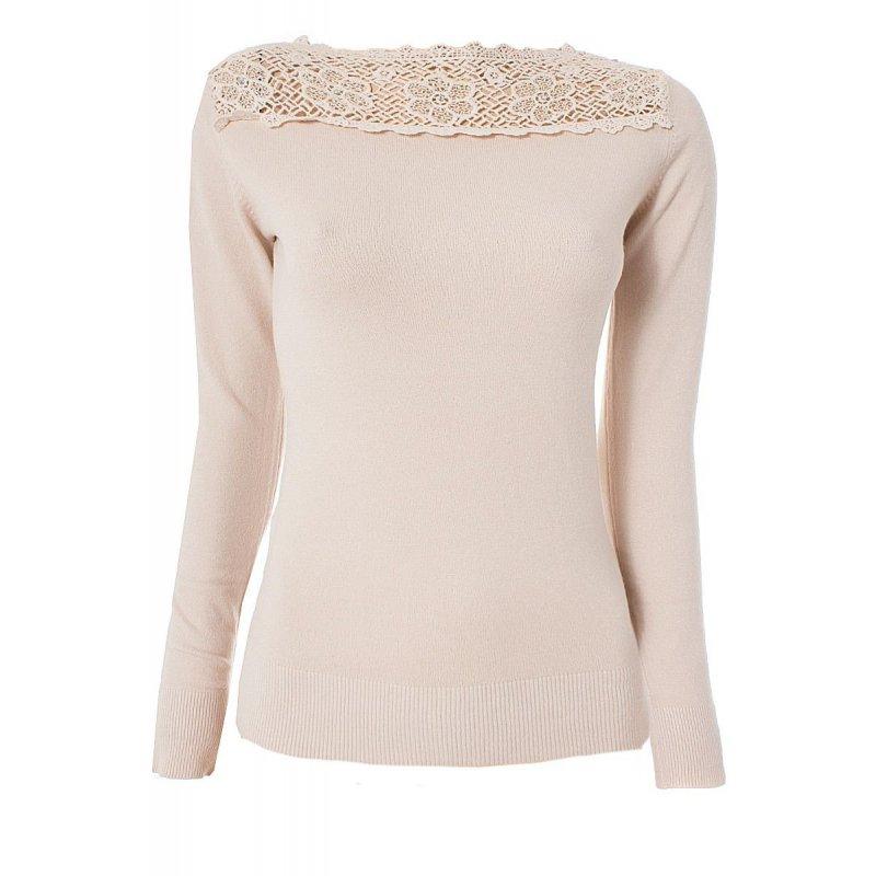 kashmir baumwolle pullover mit spitzen kragen s m beige. Black Bedroom Furniture Sets. Home Design Ideas